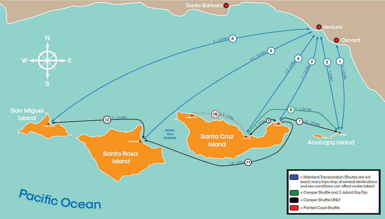 Channel Islands Route Map